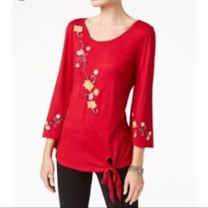 NY Collection Red Embroidered Top Blouse